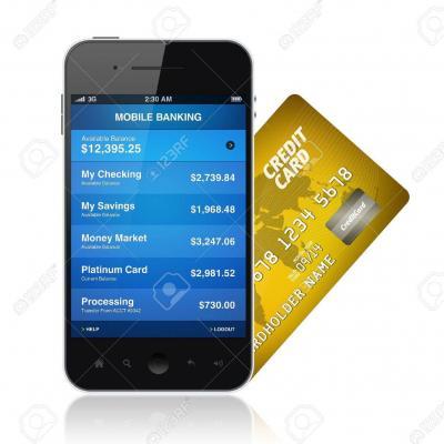 14185747 illustration de la demande des services bancaires mobiles sur un telephone mobile moderne avec une car banque d images